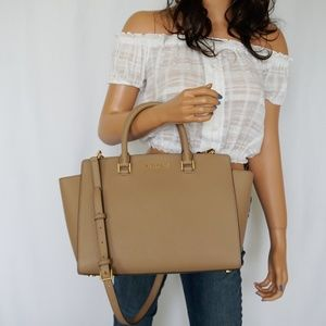 Michael Kors Selma LG TZ Satchel Bag Dark Khaki
